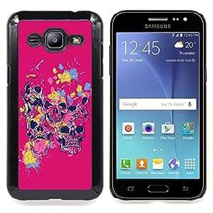 "Qstar Arte & diseño plástico duro Fundas Cover Cubre Hard Case Cover para Samsung Galaxy J2 / J200 (Ataque de color rosa cráneo"")"