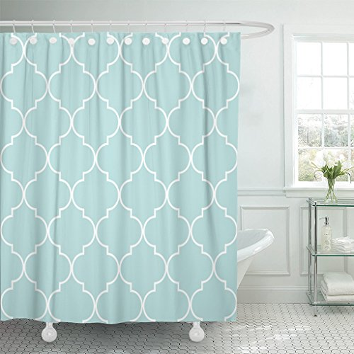 TOMPOP Shower Curtain Pattern Quatrefoil Geometric in Mint Blue Turquoise Color Waterproof Polyester Fabric 72 x 72 Inches Set with -