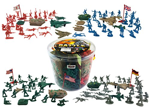 [Action Figures Army Men Soldier Bucket Playset with Tanks, Planes, Flags & More!] (German Army Tank)