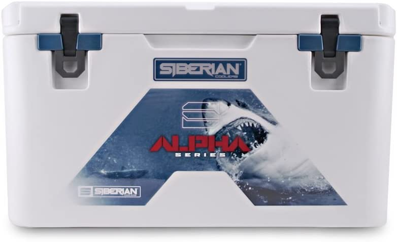 Siberian Coolers Alpha Pro Series 65 Quart in White Bear Resistant Includes Accessories