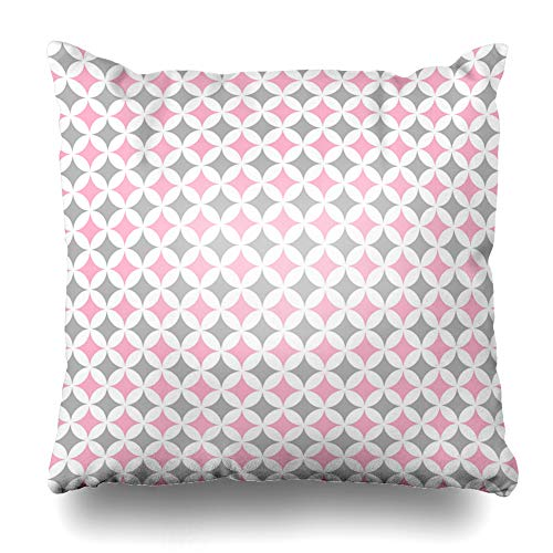 Ahawoso Throw Pillow Cover Gothic Gray Girl Pastel Cathedral Window Pattern Abstract Light Pink Patchwork Church Color Diamond Home Decor Pillowcase Square Size 16