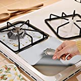 Stove Burner Covers 8 Pack Burner Protectors - Aubuytech FDA Aprroved Gas Range Protectors|Reusable Stovetop Burner Liners - Heat Resistant & BPA Free and Keep Your Stovetop Clean (Sliver)