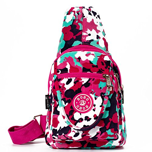 Women Sling Bags Outdoor Sport Crossbody Bag Multi Functional Sling Backpack Rucksack - Pink Flower