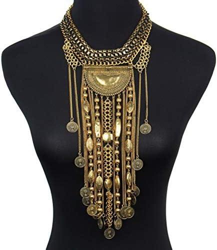 SUMAJU Statement Necklace, Beads Coin Fringe Statement Necklace Bohemian Ethnic Tribal Boho