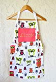 Girls apron personalized with bright owl print includes name sizes 4 through 12!