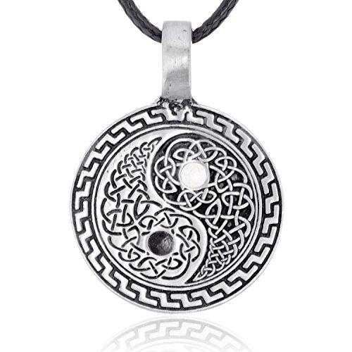 Dan's Jewelers Celtic Yin Yang Symbol Pendant Necklace, Fine Pewter Jewelry (Yin Pendant)