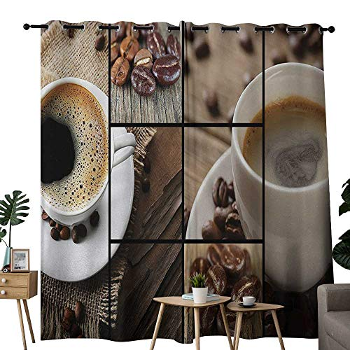 NUOMANAN Curtains 63 inch Length Brown,Coffee Themed Collage Close Up Mugs Beans on Wooden Table Aromatic Roasted Espresso Drink,Brown,Insulating Room Darkening Blackout Drapes for Bedroom -