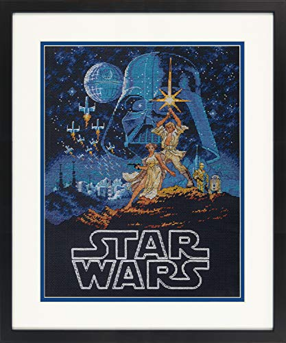 Dimensions 70-35380 Star Wars Luke Skywalker and Princess Leia Cross Stitch Kit Black 14 Count Aida, 11