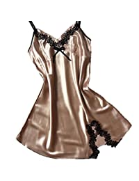 Women Sexy Lingerie for Sex Susenstone Suspenders Nightdress Silk Satin Pajamas Dress