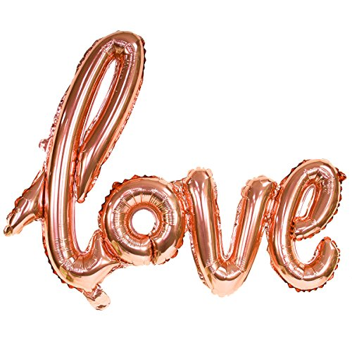 - 30 inch Rose Gold 'Love' Hand Written Style Letter FOIL Balloon (Rose Gold)