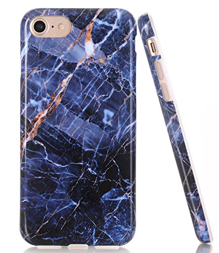 BAISRKE Navy Blue Marble Design Clear Bumper TPU Soft Rubber Silicone Cover Phone Case Compatible with iPhone 7 (2016) / iPhone 8 (2017) [4.7 inch]