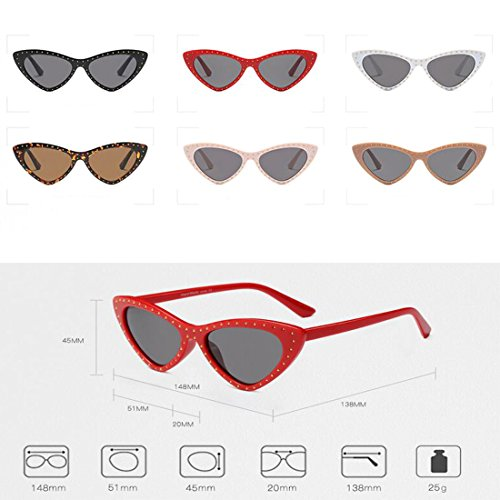 Gris Small Negro style Yefree Triangle Brillante Cat Sun Mujeres Eye Sunglasses Mod Glasses Frame Vintage Todo gx44E7Zw1q