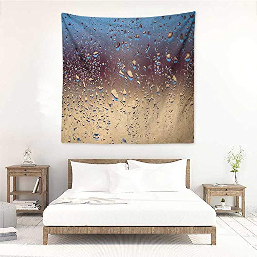 (Willsd Rain Decorative Tapestry Close Up Rain Drops on Glass Natural Sprays Sphere Contrasting Colors Picture Home Decorations for Bedroom Dorm Decor 70W x 70L INCH Blue Tan Brown)