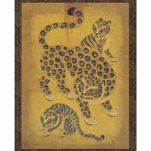 Leopard Handmade Scroll Hanging Wall Art Interior Decor Asian Print Korean Folk (Korean Wall Hanging)