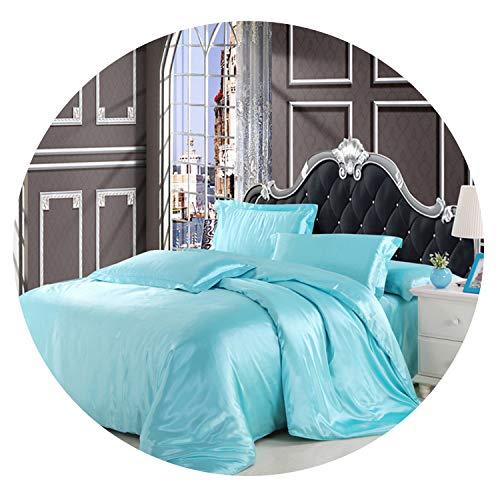 Sisilya-bedandbath Duvet Cover Bed Sheet Pillowcase 4pcs Satin King Queen Twin Size,Color 16,Family Suite 5pcs -