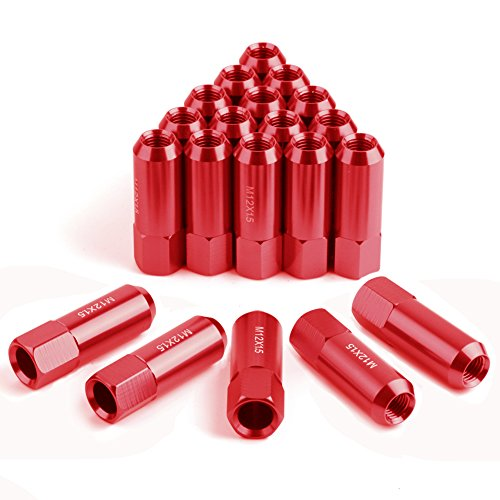 YITAMOTOR 12x1.5 Lug Nuts Red Open End, Bulge Acorn Wheel Lug Nuts 2.36