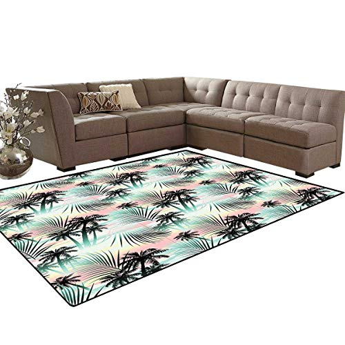 Hawaii Kids Carpet Play-mat Rug Summer Season Palm Trees and Exotic Fern Leaves with Abstract Colorful Background Room Home Bedroom Carpet Floor Mat 6'6