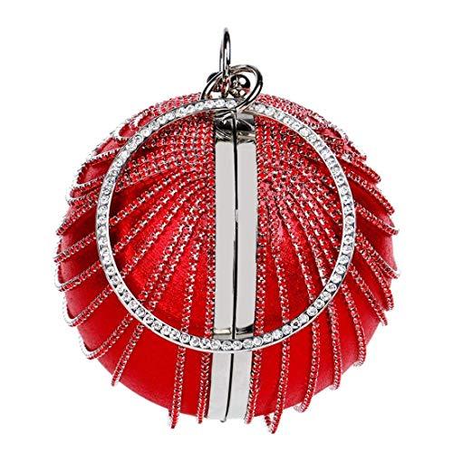 Boda Redonda Noche Sky grow Graduación De Pequeño Mujer bola Red Bolso Lindo Imitación Para Suave Mini Diamantes color Embrague Gamuza Fiesta ZFOFqCx