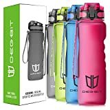 DB DEGBIT Leak Proof Motivational Water Bottle, 1 Liter BPA Free Tritan Plastic Sports Water Bottles Time Marker & Filter & Lock Lid, Reusable Gym Bottle (1000ML, Rose Red)