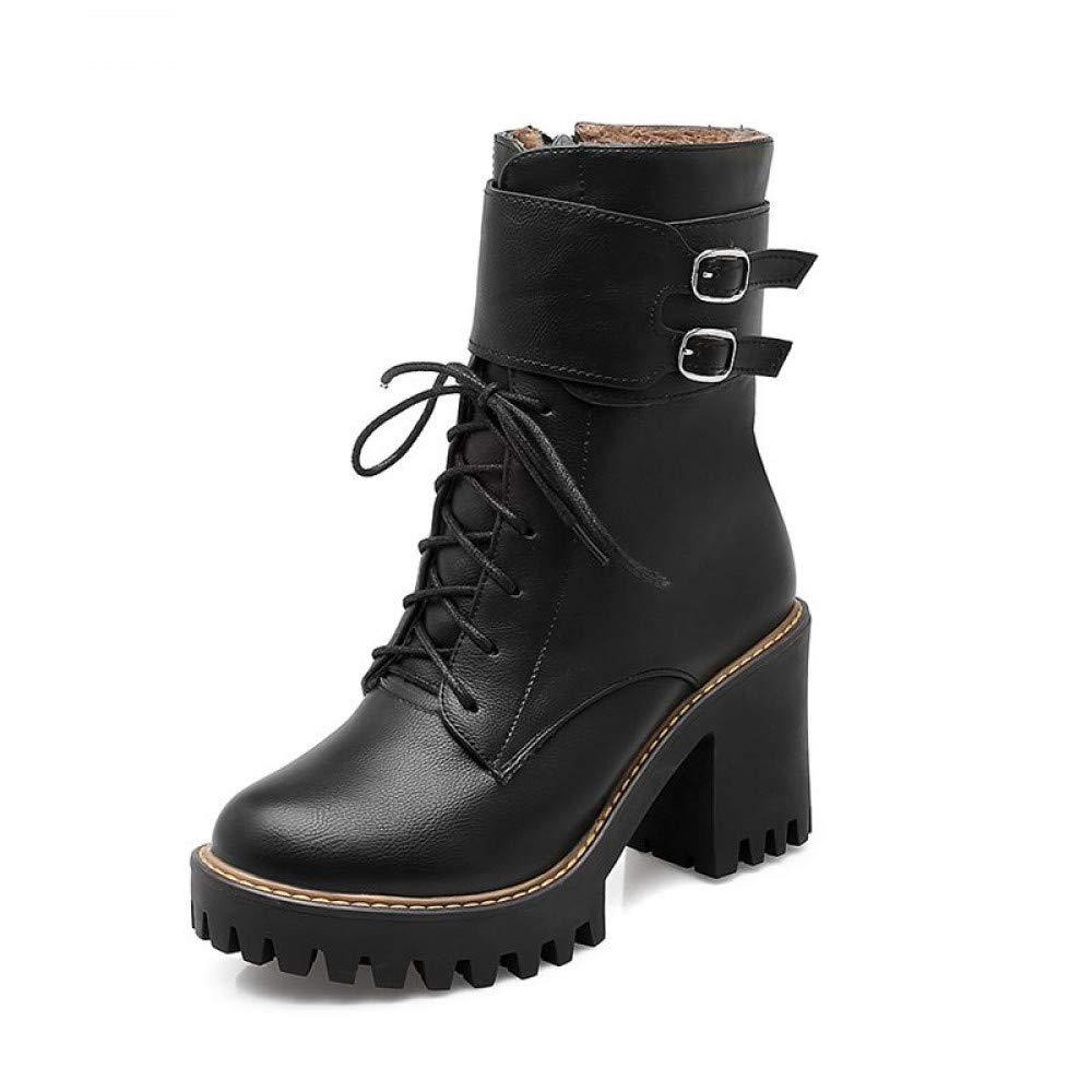 PINGXIANNV Mode Stiefel Damen Herbst Herbst Herbst Winter Schnalle Damen Schuhe High Heels Runder Plattform Schnürschuhe Stiefeletten Für Frauen b2f78d