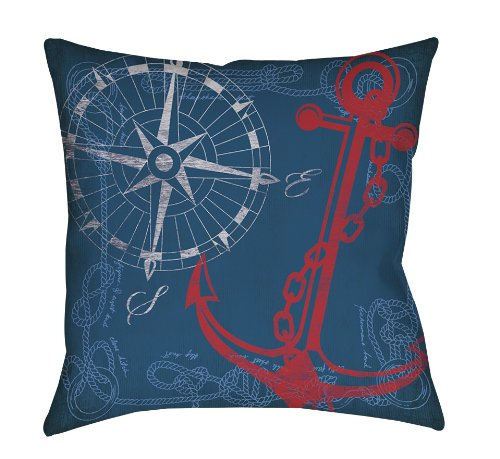 Thumbprintz Square Throw Pillow, 16-Inch, Anchors Away Navy