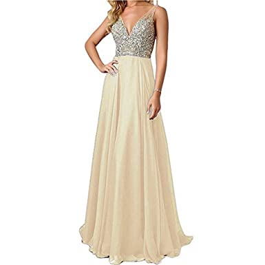 JINGDRESS Womens Beaded Evening Gowns Long V Neck Chiffon Prom Dresses Open Back 0