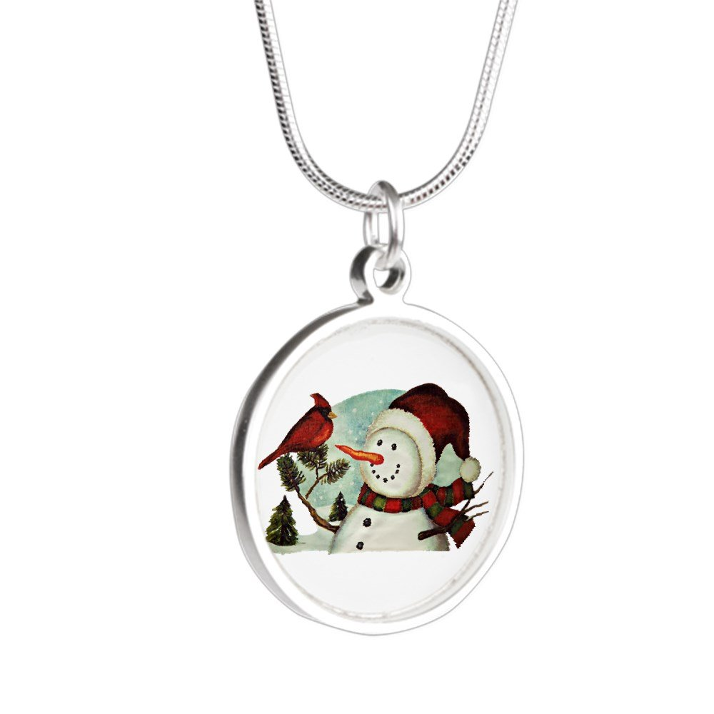 Royal Lion Silver Round Necklace Christmas Frosty Snowman Cardinal