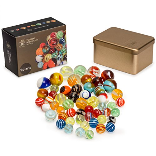"Yellow Mountain Imports Marbles Set in Tin Box, ""Solaris"""