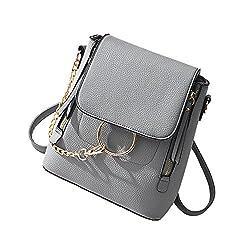Scentw Fashion Women Crossbody Backpack Purse Small Pu Leather Shoulder Bags Ladies Cute Chain Satchel Bag Grey