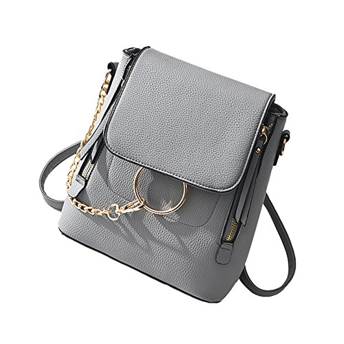 SCENTW Fashion Women Crossbody Backpack Purse Small Pu Leather Shoulder Bags Ladies Cute Chain Satchel Bag (Grey)