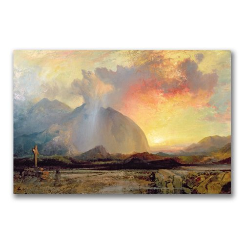 Sunset Cross (Sunset Vespars At The Rugged Cross by Thomas Moran, 16x24-Inch Canvas Wall Art)