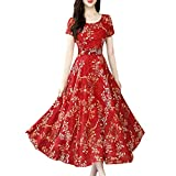 Wenini Floral Dresses, Women Fashion Boho Floral Printed O-Neck Wrap Short Sleeve Maxi Long Dress