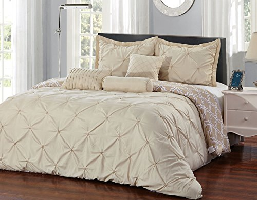 Unique Home 7 Piece Pinch Pleat Bed in a Bag Comforter Set (Taupe, California King)
