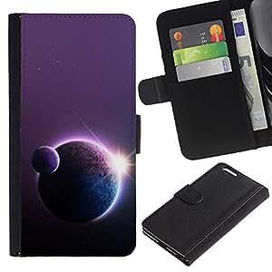 KLONGSHOP / Tirón de la caja Cartera de cuero con ranuras para tarjetas - Planets Sun Art Star Row Space Universe Cosmos - Apple iPhone 6 PLUS 5.5