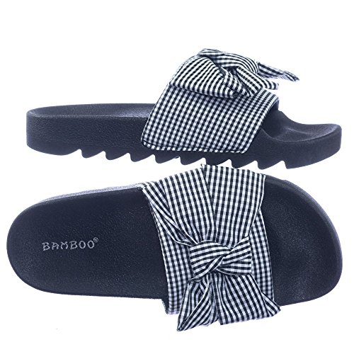 Blossom Lug Sole Gingham Checker Sporty Slide Molded Footbed Flat (Gingham Flat)
