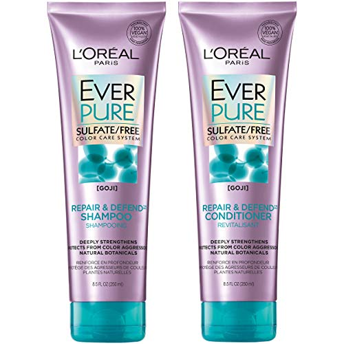 L'Oreal Paris Hair Care EverPure Repair & Defend Sulfate Free Shampoo & Conditioner Kit for Color-Treated Hair, Strengthens + Repairs, For Damaged Hair, (8.5 fl. oz. each)