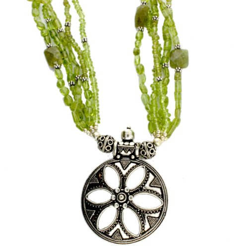 Peridot and Lime Jade Sterling Silver 17 Inch Necklace with Filigree Granulated Pendant