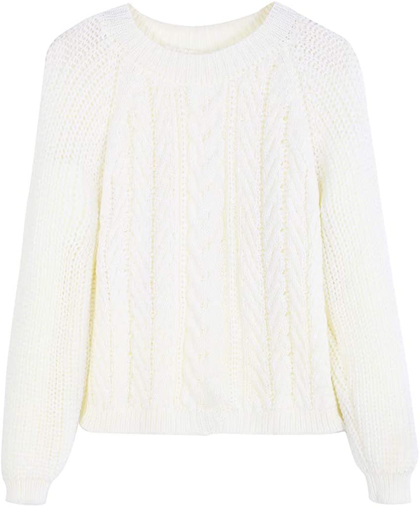 KEYIA Femme T-Shirts /à Manches Longues Automne Hiver Pulls Tricot Col Rond Sweat-Shirts Chemisiers Et Blouses