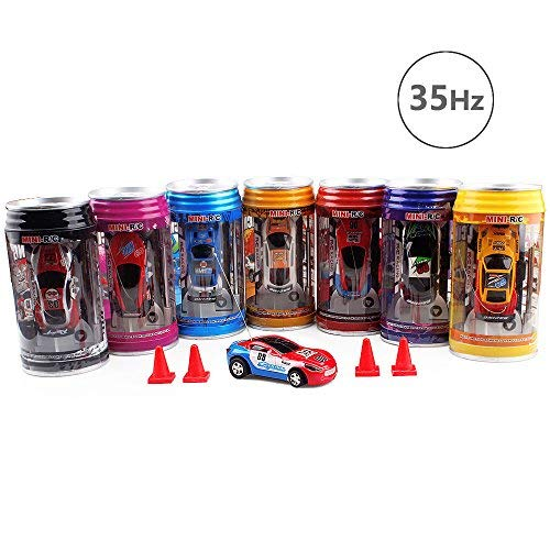 Mini Remote Control Racer,27Hz Pocket Cola Pot RC Cars with 4pack Barrier,Red&Blue