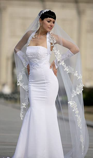 Bridal Wedding Mantilla Veil Ivory 1 Tier Long Cathedral LengthWith Lace Edge