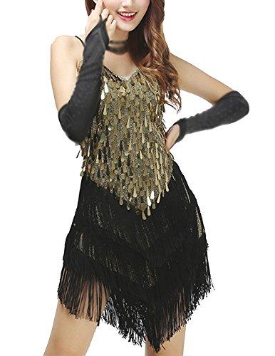 Mujeres Lentejuelas Borla Vestido Fiesta Sin Mangas Brillante Escote En V Baile Vestidos Negro Dorado