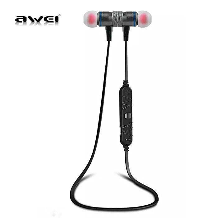 Awei A920BL Bluetooth 4.0 Wireless Sport Exercise Stereo Noise Reduction Earbuds Build-in Microphone Earphone For Apple iPhone Galaxy S6 S5 Android Smartphones (GRAY) In-Ear Headphones at amazon