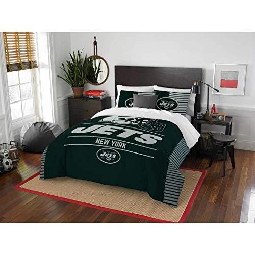3 Piece NFL New York Jets Comforter Full Queen Set, Sports Patterned Bedding, Team Logo, Fan Merchandise, Team Spirit, Football Themed, National Football League, Green, White, Unisex ()