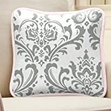 Carousel Designs Pink and Gray Elephants Decorative Pillow Square