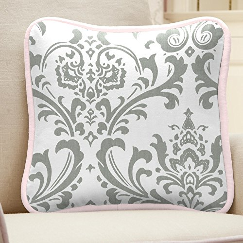 Carousel Designs Pink and Gray Elephants Decorative Pillow Square by Carousel Designs