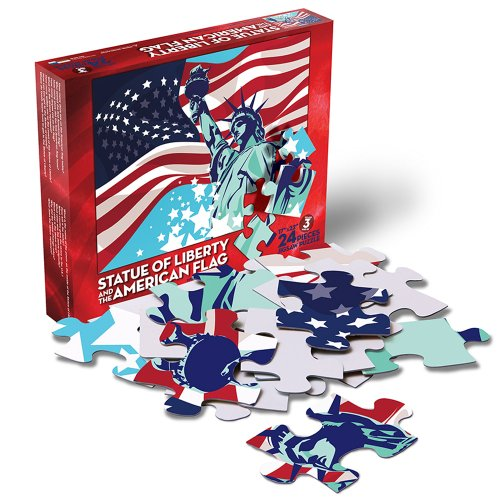 Statue of Liberty and the American Flag - 24 Piece Jigsaw Puzzle
