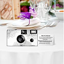 5 Pack Silver Roses Wedding Memories Disposable Camera, Wedding, Anniversary, party, sweet 16 (F50454)