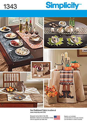 Simplicity 1343 Autumn Themed Tablecloth and Table Accessories Home Décor Sewing Patterns, One Size -