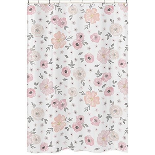 Sweet Jojo Designs Blush Pink, Grey and White Bathroom Fabric Bath Shower Curtain for Watercolor Floral Collection (Walmart Fabric Floral)