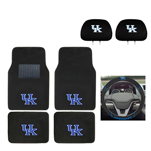 University of Kentucky Automotive Gift Set.Wow! Logo On Front and Rear Auto Floor Liner. You get 2 Head Rest Cover 4 Floor Mat and 1 Wheel Cover in this gift set. Perfect to Kentucky WildCats Fan